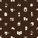 Coffee icons brown pattern eps10 Royalty Free Stock Photography