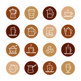 Coffee Icons in circles in coffee colors Stock Images
