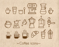Coffee icons with craft Royalty Free Stock Images