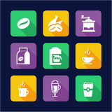 Coffee Icons Flat Design Stock Images