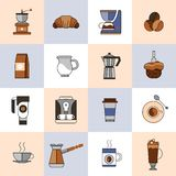 Coffee icons flat line set Royalty Free Stock Photo