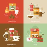 Coffee icons flat Stock Images