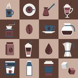 Coffee icons flat Royalty Free Stock Photo