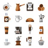 Coffee icons flat set Royalty Free Stock Photos