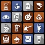 Coffee icons flat shadow set Royalty Free Stock Image