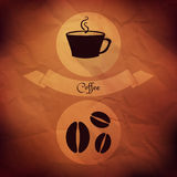 Coffee icons on folded paper Royalty Free Stock Image
