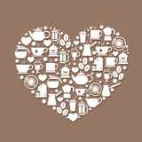 Coffee Icons with heart Royalty Free Stock Images