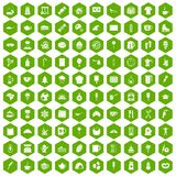 100 coffee icons hexagon green. 100 coffee icons set in green hexagon isolated vector illustration Royalty Free Stock Images