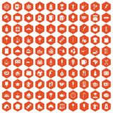 100 coffee icons hexagon orange. 100 coffee icons set in orange hexagon isolated vector illustration Stock Photo