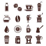 Coffee icons monochrome. Coffee cafe cafeterie shop monochrome icons set with coffee-bulb jar bean isolated vector illustration Stock Photos
