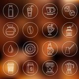 Coffee icons outline Stock Photo