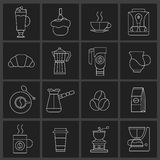 Coffee icons outline set Royalty Free Stock Images