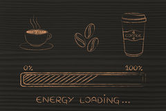 Coffee icons with progress bar loading awakeness, energy version Stock Images