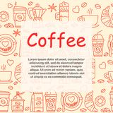 Coffee icons seamless pattern. Hot drinks flat line icons - coffeemaker machine, beans, cup, grinder. For restaurant menus, business cards, brand design Royalty Free Stock Photos