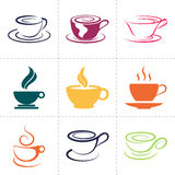 Coffee icons set, also as emblem, such a logo Royalty Free Stock Image