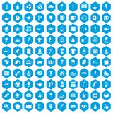 100 coffee icons set blue. 100 coffee icons set in blue hexagon isolated vector illustration Stock Illustration