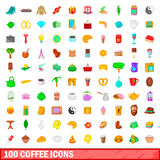 100 coffee icons set, cartoon style. 100 coffee icons set in cartoon style for any design vector illustration Stock Image