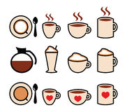Coffee  icons set in color Royalty Free Stock Photography