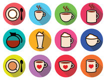Coffee  icons set in color Royalty Free Stock Photo