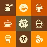 Coffee Icons Set in Flat Design Color Style. Stock Image