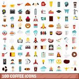 100 coffee icons set, flat style Royalty Free Stock Image