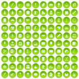 100 coffee icons set green circle Stock Image