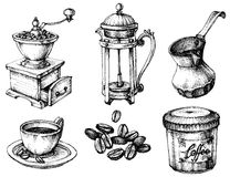 Coffee icons set. Coffee icons hand drawn set Royalty Free Stock Photos