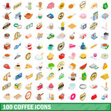 100 coffee icons set, isometric 3d style. 100 coffee icons set in isometric 3d style for any design vector illustration Stock Photography