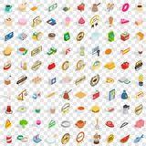 100 coffee icons set, isometric 3d style. 100 coffee icons set in isometric 3d style for any design vector illustration Stock Photos