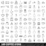 100 coffee icons set, outline style Royalty Free Stock Images