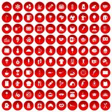 100 coffee icons set red. 100 coffee icons set in red circle isolated on white vector illustration Royalty Free Stock Images
