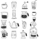 Coffee icons set with stripe line. Drawing Style on white background. Vector illustration style Stock Image