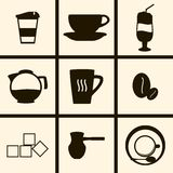 Coffee Icons. Set of icons on a theme Coffee Stock Photography