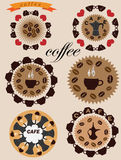 Coffee icons. Six round decorative icons with symbols of coffee Royalty Free Stock Photography