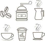Coffee icons, thin black lines on a white background. Coffee grinder, coffee maker, steaming cups, coffee beans, plastic cups. Design element, vector royalty free illustration