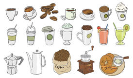 Coffee icons vector. Coffee illustration set of icons line Royalty Free Stock Images