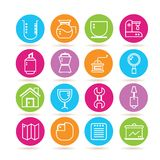 Coffee icons, web icons. Set of 16 coffee and web icons Royalty Free Stock Image