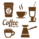 Coffee Icons with White Background Royalty Free Stock Photo