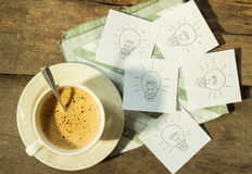 Coffee for idea. Coffee cup and idea paper Stock Images