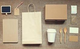 Coffee identity branding mockup set top view Stock Image