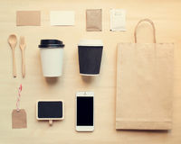 Coffee identity branding mockup set from top view. With retro filter effect stock photography