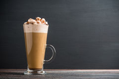 Free Coffee In Glass On The Dark Wooden Table Stock Photo - 72183910
