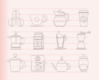 Coffee industry signs and icons Royalty Free Stock Images