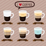 Coffee infographic elements.types of coffee drinks Royalty Free Stock Photo