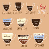 Coffee infographics in hand drawing collage style vector illustration  set Royalty Free Stock Image