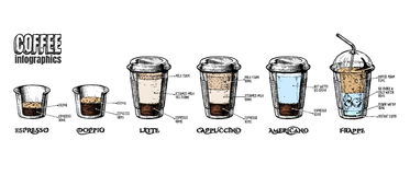 Coffee infographics set. Vector coffee infographics set in vintage hand drawn style. Types of coffee-to-go in paper cups: espresso, doppio, latte, cappuccino Stock Images