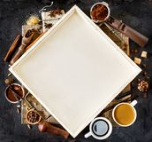 Coffee ingredient frame Royalty Free Stock Photography