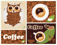 Coffee inspired illustrations, with owl, coffee beans Stock Photography