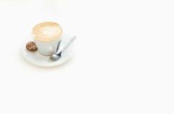 Coffee isolated espreso white foam. Spoon Royalty Free Stock Photos