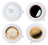 Coffee isolated white collection set clipping path inside Royalty Free Stock Photos